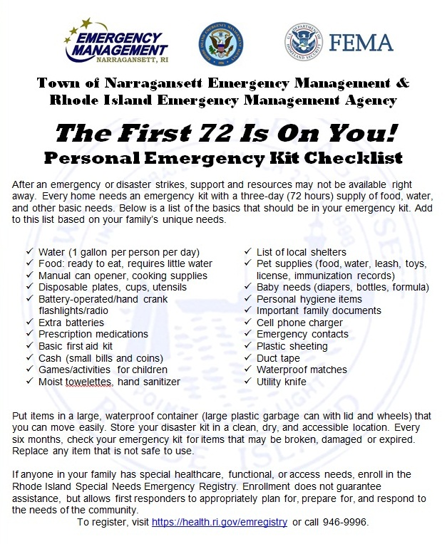 The First 72 are on you. Individual preparedness checklist