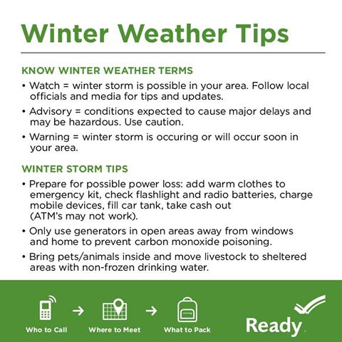 List of winter weather tips